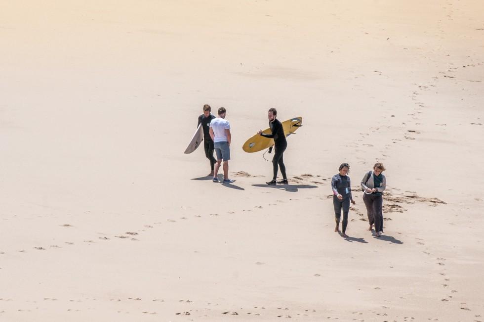 Surfers socializing