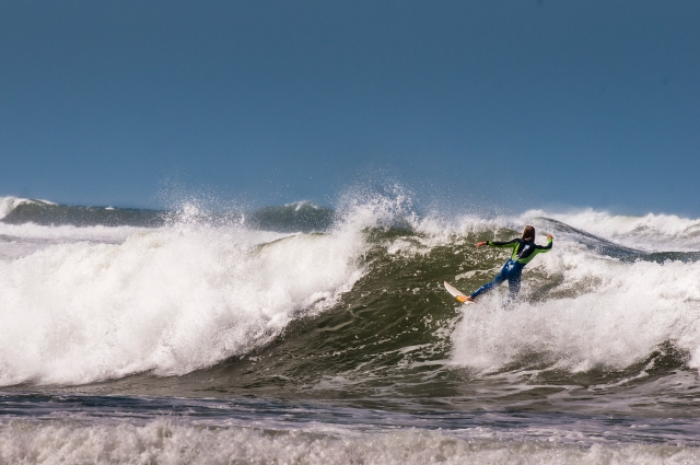 surfer in action in Portugal
