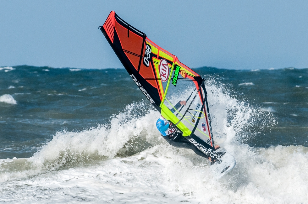 wave riding during PWAworldtour event in Klitmoller